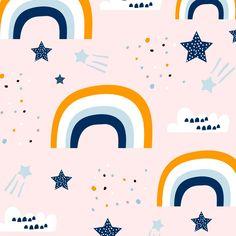 Rainbow Fabric And Stars Surface Pattern Design, Pattern Art, Textile Patterns, Textile Design, Kids Patterns, Print Patterns, Conversational Prints, Brand Identity Design, Pattern Illustration