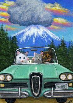 Cats kittens Edsel car Mt St Helens eruption original aceo painting art #Realism Artist Bridget Voth on Ebay ID star-filled-sky