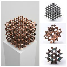American artist Robert Wechsler is the author of these geometric sculptures made from upcycled coins such as &qout;Money&qout; (commissioned by The New Yorker), &qout;The Mendicant&qout; and &qout;Penny Molecule&qout;. He cuts the coinswith a jewelry saw and made square or circular geometric forms which are similar to atoms. H…
