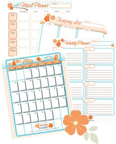 #printable planners (meal, shopping, weekly, monthly)