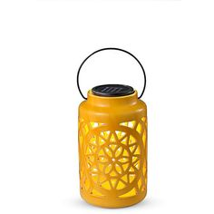 "Improvements 9"" Ceramic Solar Lantern-Yellow (33 BAM) ❤ liked on Polyvore featuring home, outdoors, outdoor lighting, solar lighting, 9 ceramic solar lantern, outdoor garden solar lights, solar yard lights, patio light, solar patio lights and patio lights"