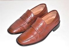 Rossi Brown Leather Loafer Slip On Made in Italy Men's Euro 40  US 7 #Rossi #LoafersSlipOns
