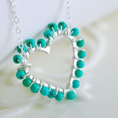 Jewelry Turquoise Genuine Gemstone Aqua Wire Wrapped Heart Sterling Silver Necklace Complimentary Shipping.  via Etsy.
