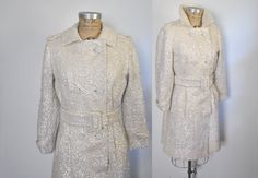 1960s Sequin Trench Coat / Bridal Wedding Dress by badbabyvintage