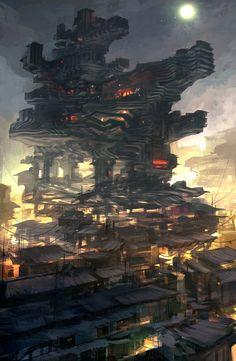 Cyberpunk Atmosphere, Dystopia, Future City, Feng Zhu Design