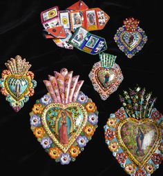 Hand Painted Milagros & Travel Altars.....you can buy tin hearts on amazon..then go wild.with.paint!
