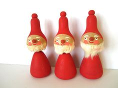 Tempting Tomte! CHARMING trio (3) of hand painted wooden Santas or elf figurines from Sweden. Each measures 5 high and are in EXCELLENT condition from