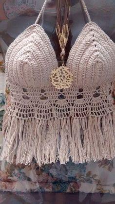 Fringe Trim Crochet Cover Up Beach Crochet, Crochet Bra, Crochet Cover Up, Crochet Crop Top, Love Crochet, Learn To Crochet, Crochet Clothes, Crochet Designs, Crochet Patterns