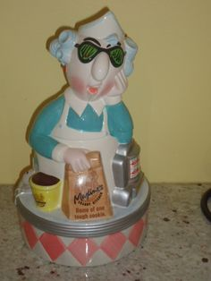 Calico Cat Sleeping Cookie Jar With Mouse On Lid Ceramic