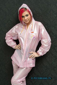 Shiny Pvc and Plastic Pink Raincoat, Raincoat Jacket, Plastic Raincoat, Plastic Pants, Rain Jacket, Pvc Leggings, Pvc Apron, Rain Suit, Rain Gear