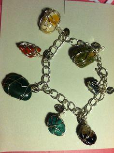 Wire wrapped gemstone bracelet