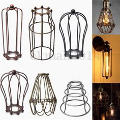 Vintage Lampshade Balloon Industrial light Metal Frame lamp Cage Guard bars Cafe