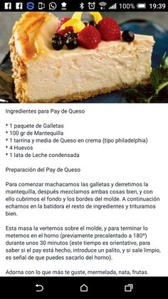 Cheesecake Cake, Cheesecake Recipes, Mexican Food Recipes, Dessert Recipes, Desserts, Bakery Recipes, Cooking Recipes, Pistachio Biscotti, Sweet Cookies