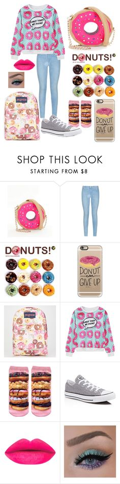 """""""Donuts"""" by pinappledancer1186 ❤ liked on Polyvore featuring Betsey Johnson, 7 For All Mankind, WALL, Casetify, JanSport, WithChic and Converse"""
