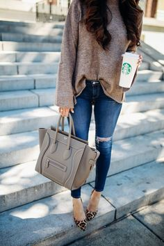 #winter #outfits Brown Knit // Ripped Skinny Jeans // Leopard Pumps // Grey Leather Tote Bag
