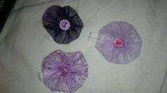 Purple flowers hair elastics