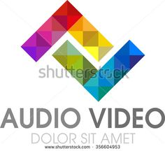 abstract vector, logo or symbol for audio video - stock vector
