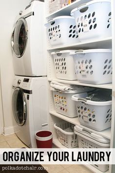 Need laundry room ideas? Ideas for organizing your laundry room. How to build shelving around a stackable washer and dryer. Laundry Cubbies