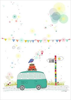 Check out this sweet print of a classic & retro Volkswagen Camper Van by French Illustrator Amélie Biggs. Great in a little Boy's Room. Holiday / Travel-themed Bedrooms for Kids Art Wall Kids, Art For Kids, Wall Art, Art Fantaisiste, Children's Book Illustration, Illustration Children, Whimsical Art, Cute Art, Illustrations Posters
