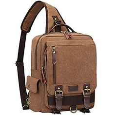 Amazon.com: S-ZONE One Strap Sling Canvas Cross Body 13-inch Laptop Messenger Bag Travel Shoulder Backpack Coffee: Computers & Accessories