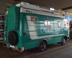 big green RV based on a IVECO Magirus