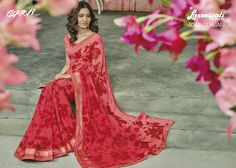 Garvi - 4042 Saree will come along with approx m unstitched blouse piece Laxmipati Sarees, Lehenga Saree, Fancy Sarees, Party Wear Sarees, Strapless Dress Formal, Formal Dresses, Printed Blouse, Red And Pink, Pink Color