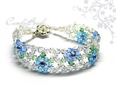 Blue Marine Flower Crystal Bracelet, very beautiful!!! I have many items for the Best Beautiful Bracelets. Please come look! Thank you ♥