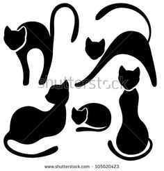 Set of black cat silhouette. Collection on white background.