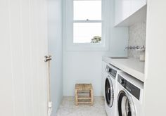 The biggest renovation to date for Three Birds Renovations has been transforming Lana's family home into a Mediterranean inspired Villa forever home. Lana chose a selection of Dulux products in some of our iconic colours to complete this renovation. Sydney, Santorini House, Three Birds Renovations, Childrens Bathroom, Local Builders, Mediterranean Style Homes, Villa, Laundry In Bathroom, Small Laundry