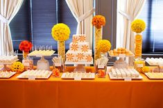 Not the colors - but love the idea of a dessert table - cake, cookies, etc.