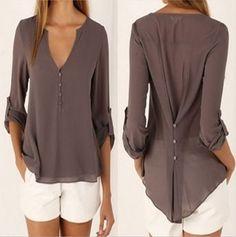 2016 Nueva Gasa Del Verano V-cuello de la Blusa de Las Mujeres Más El Tamaño 5XL Solid Gasa Blusas Femme Mujeres Sexy Blusas de La Camisa Mujeres Tops CBB121