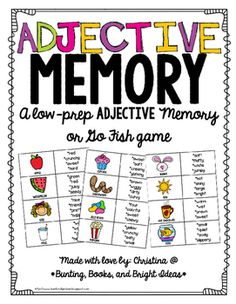 """This fun activity is a perfect, fun, and quick way to practice working on adjectives.Just print and cut.  Place a center or use with groups of 2-4.  Students filp over cards until they find a picture and adjectives that describe it.You can also play as """"Go Fish"""" or have students play by holding picture cards against their foreheads and taking turns describing others' pictures using adjectives until each student guesses their own picture.Like this game?"""