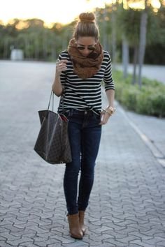 Stripe shirt with skinnies, scarf and boots