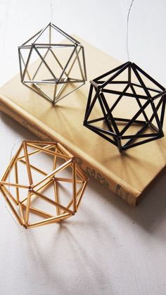 24 Ways To Add Some Geometry To Your Home Decor - geometric art - These ornaments: Geometric Decor, Handmade Ornaments, Handmade Home Decor, Diy Room Decor, Wall Decor, Mobiles, Diy Projects, Crafts, Etsy