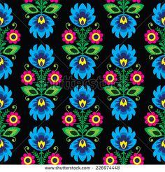 Seamless traditional floral Polish folk art pattern on black by RedKoala…