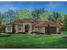 ePlans Mediterranean-Modern House Plan – Casual Mediterranean Style – 2042 Square Feet and 3 Bedrooms from ePlans – House Plan Code HWEPL77301