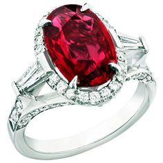 Faberge ring features a 4.02ct oval-cut Ruby with white diamonds on a platinum band.