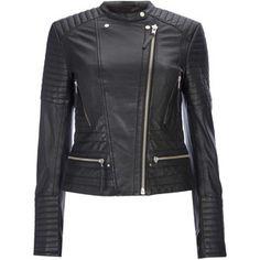 W Black Leather Biker Jacket