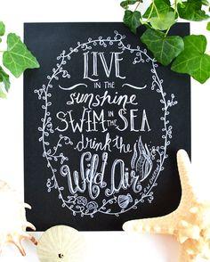 Drink the Wild Air  Emerson Quote Print   by Sugarbirdprints, $18.00 Chalkboard Art - Chalk Art - Beach House Decor - Cabiin Decor - Lakehouse Decor - Cottage Decor - Ralph Waldo Emerson Print
