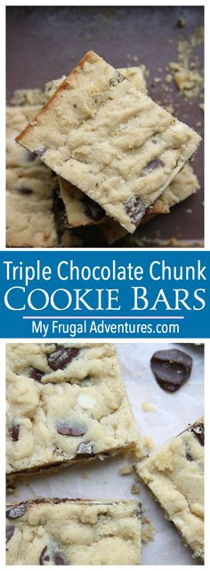 Gooey triple chocolate chunk cookie bars. So simple, just one bowl and so delicious!