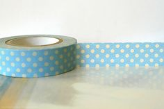 Pastel BLUE Polka Dots Japanese Washi Tape  15mm by PrettyTape, $4.00