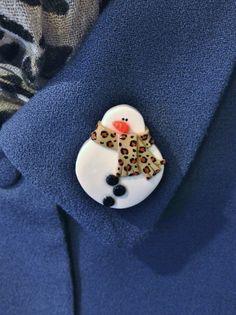 Snowman Pin Brooch with Cheetah Print Scarf Handmade Polymer Clay Jewelry