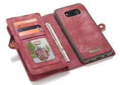 CaseMe Samsung Galaxy S8 Plus Zipper Wallet Detachable 2 in 1 Retro Flannelette Leather Folio Case Red