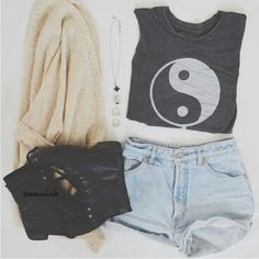 combat boots long over sized cardigan high wasted shorts topped with ying yang crop top