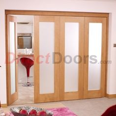 Image of Nuvu Roomfold Porto Oak 4 Door Set 3 to Right - Frosted Glass