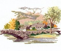 Grange in Borrowdale cross stitch kit Cross Stitching, Cross Stitch Embroidery, Cross Stitch Patterns, Cross Stitch Landscape, Counted Cross Stitch Kits, Lake District, Hobbies And Crafts, Scenery, Hobby