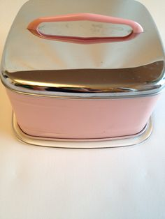 Vintage 1950s Cake Stand and Cover Pink.