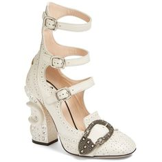 Women's Gucci Queercore Embellished Gladiator Pump (23.627.990 IDR) ❤ liked on Polyvore featuring shoes, pumps, heels, gucci, sapato, white, white shoes, white heel pumps, white heel shoes and embellished shoes