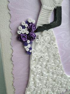 Papírvilág: quilled bride on a card / quilling menyasszonyos üdvözlet