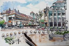 Sketch of Kilometer Nol Square Jogjakarta. 55X75cm. Pen over watercolor washes. 75 minutes. My original intention was to capture the scene entirely using pure watercolor techniques but the paper was partially stale (it's 5 years old paper anyway) so I have to resort to using pen strokes. My first time using brushpen but I love it though. . . . _________________  #101travelsketch #101travelsketch2018 #urbansketchers #walkseedraw #jogja #malioboro